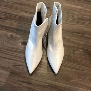 Zara white leather ankle booties